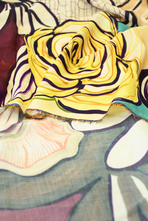 Штапель с цветами в оранжевых и бирюзовых тонах (10120) - Фото 10