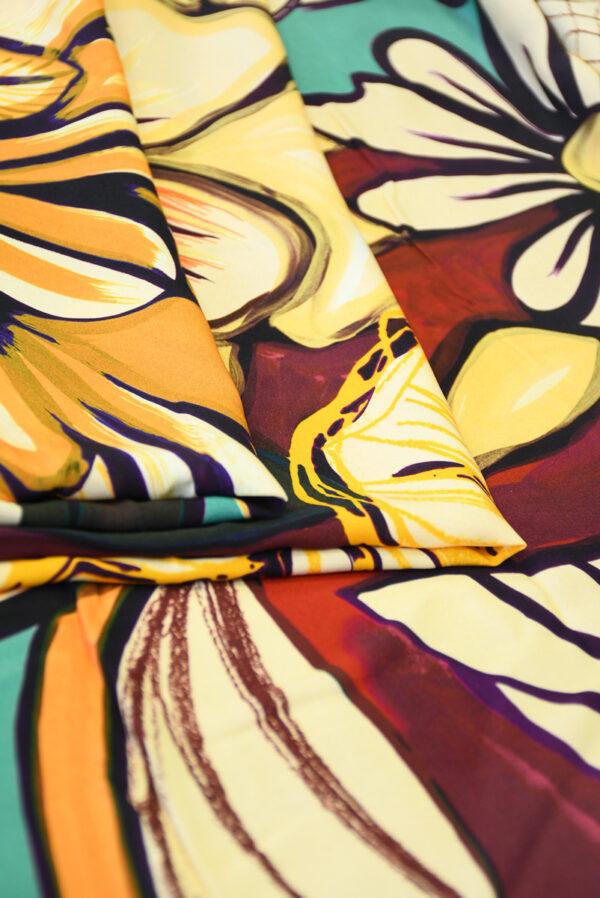 Штапель с цветами в оранжевых и бирюзовых тонах (10120) - Фото 8