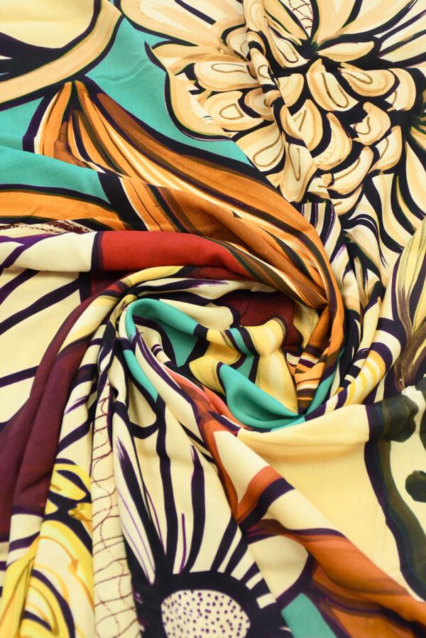 Штапель с цветами в оранжевых и бирюзовых тонах (10120) - Фото 9