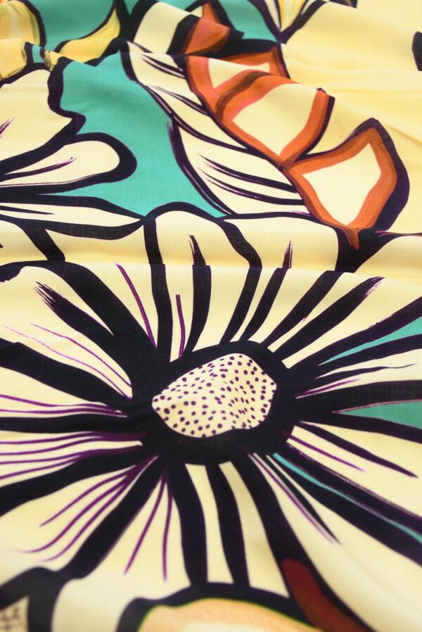 Штапель с цветами в оранжевых и бирюзовых тонах (10120) - Фото 11