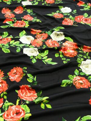 Штапель черный с красными розами (10141) - Фото 26