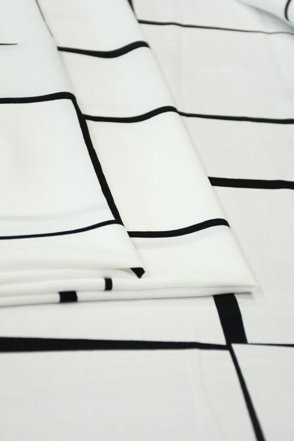 Штапель белый с черными прямоугольниками (10146) - Фото 8