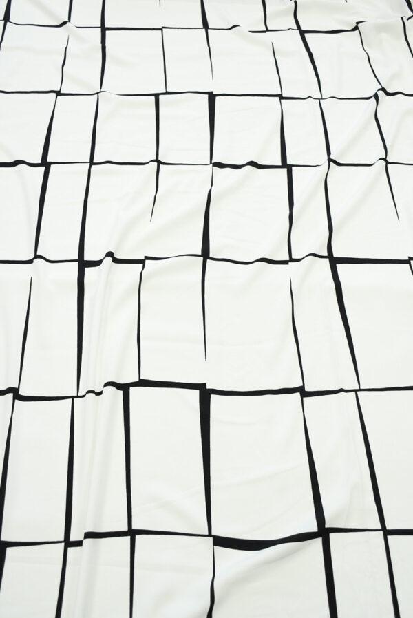 Штапель белый с черными прямоугольниками (10146) - Фото 11