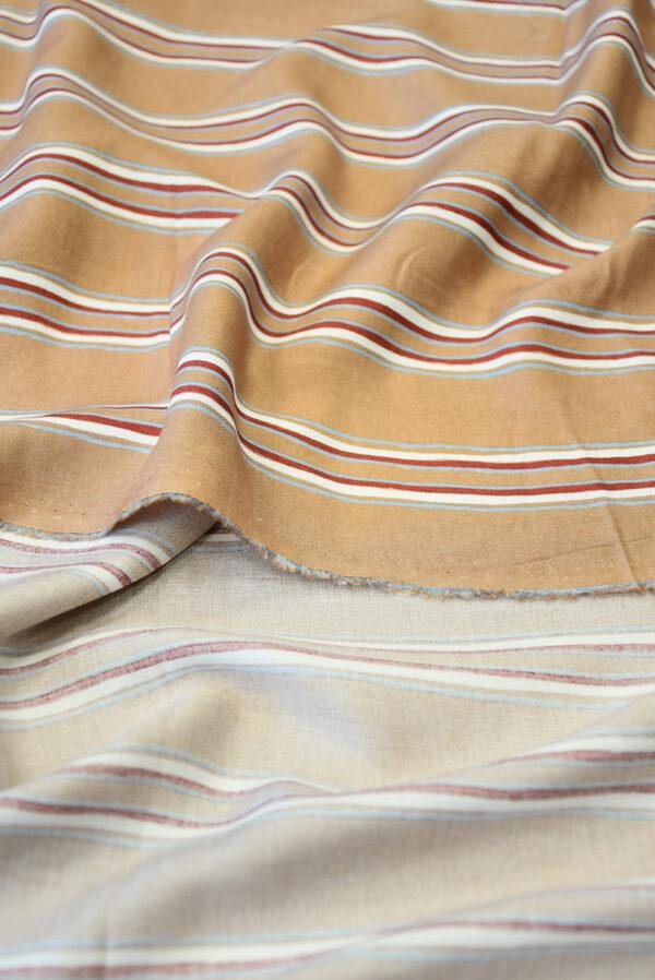 Штапель светло-коричневый в полоску (10147) - Фото 10