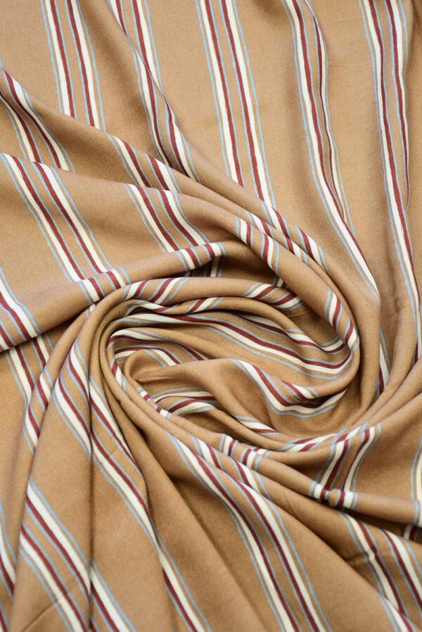 Штапель светло-коричневый в полоску (10147) - Фото 8
