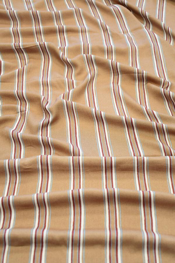 Штапель светло-коричневый в полоску (10147) - Фото 6