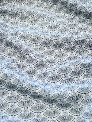 Жаккард хлопковый с синей чешуей и цветочками (10154) - Фото 18