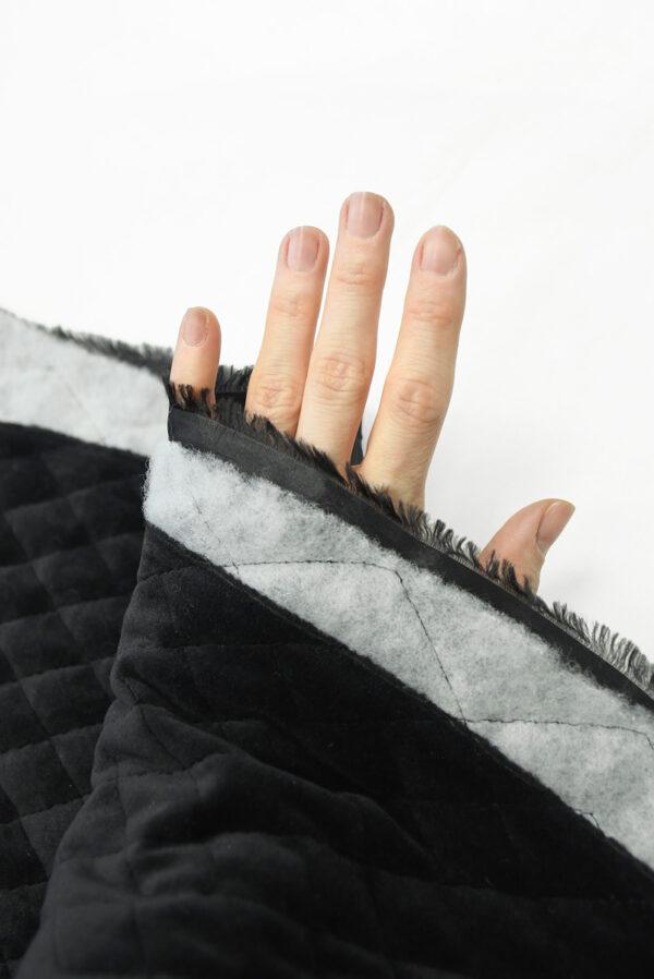 Курточная бархатная стежка черного цвета (10158) - Фото 10