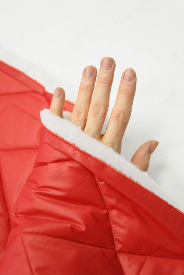 Курточная ткань красная с утеплителем (10160) - Фото 7