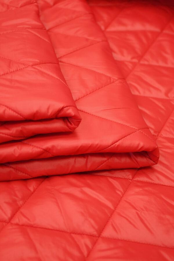Курточная ткань красная с утеплителем (10160) - Фото 8