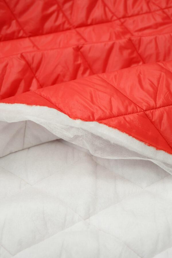 Курточная ткань красная с утеплителем (10160) - Фото 10