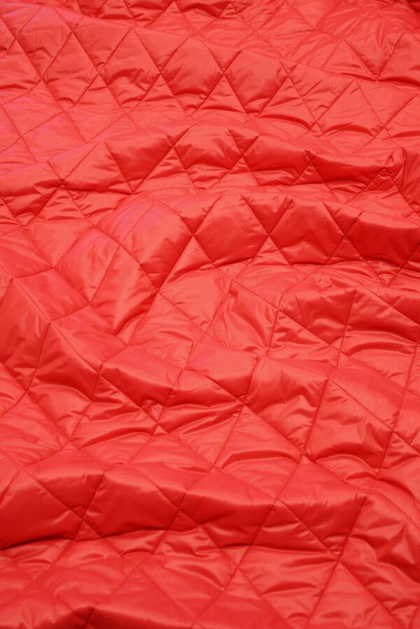 Курточная ткань красная с утеплителем (10160) - Фото 6