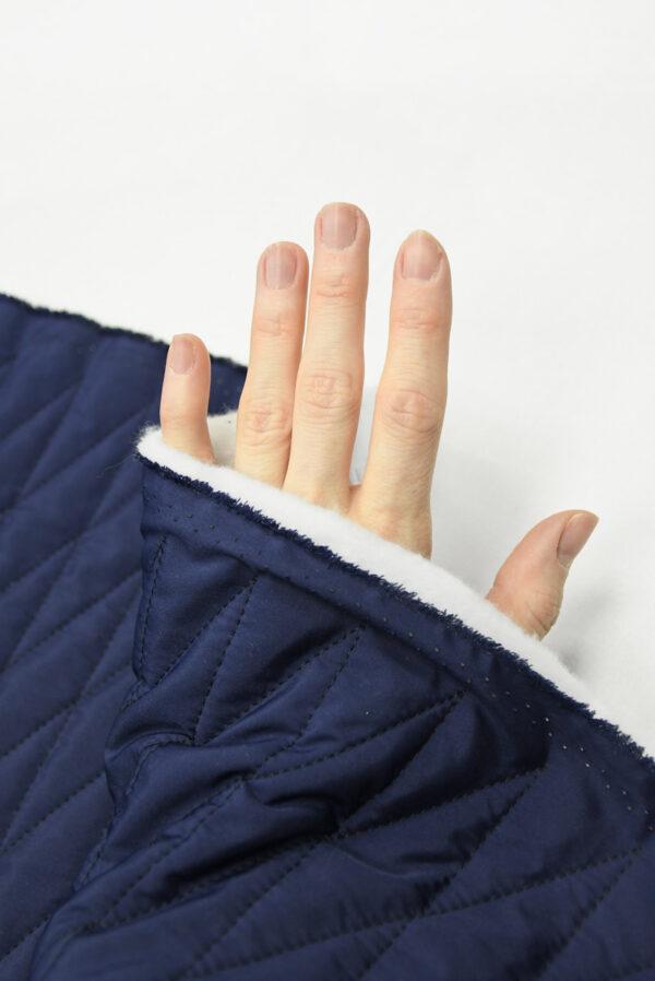 Курточная стежка темно-синяя в узкий ромб (10169) - Фото 7
