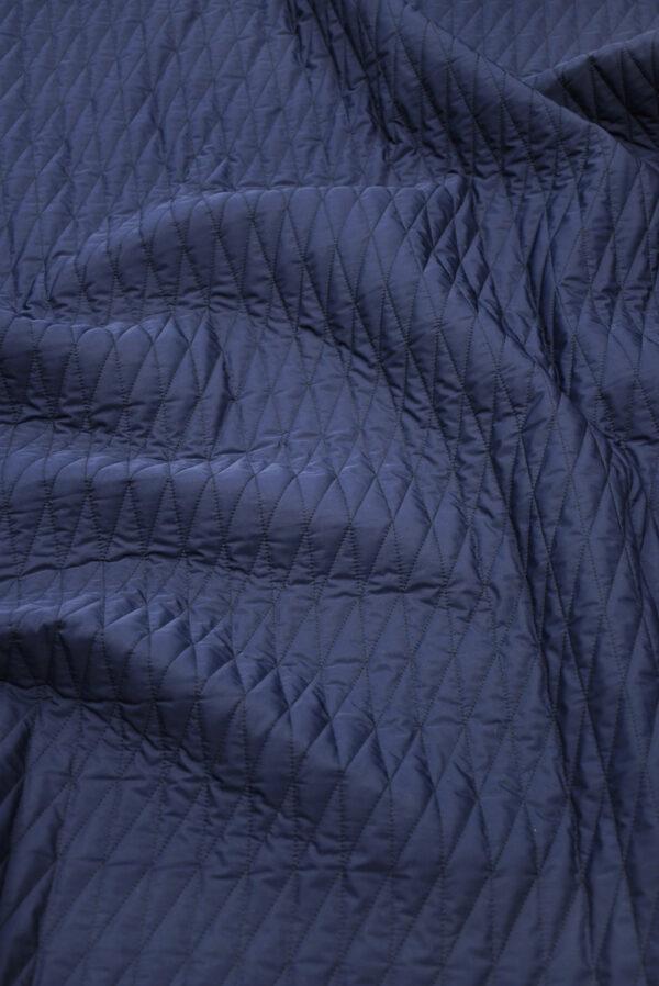 Курточная стежка темно-синяя в узкий ромб (10169) - Фото 6