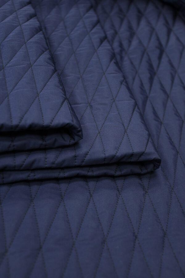 Курточная стежка темно-синяя в узкий ромб (10169) - Фото 9