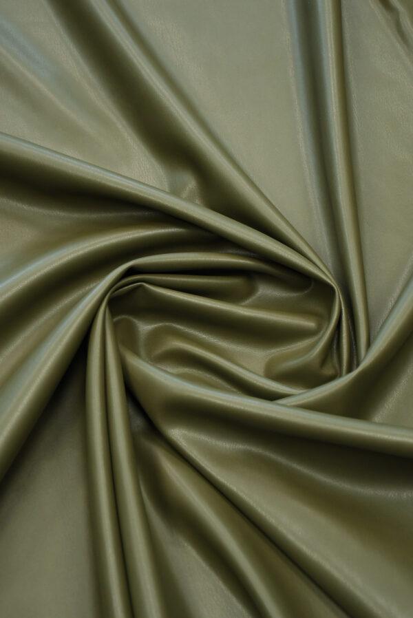 Экокожа стрейч оливковая гладкая (10170) - Фото 8