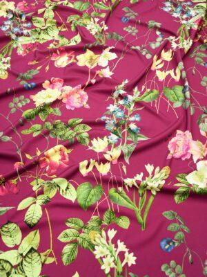 Креп сливовый с цветами и листьями (10181) - Фото 10