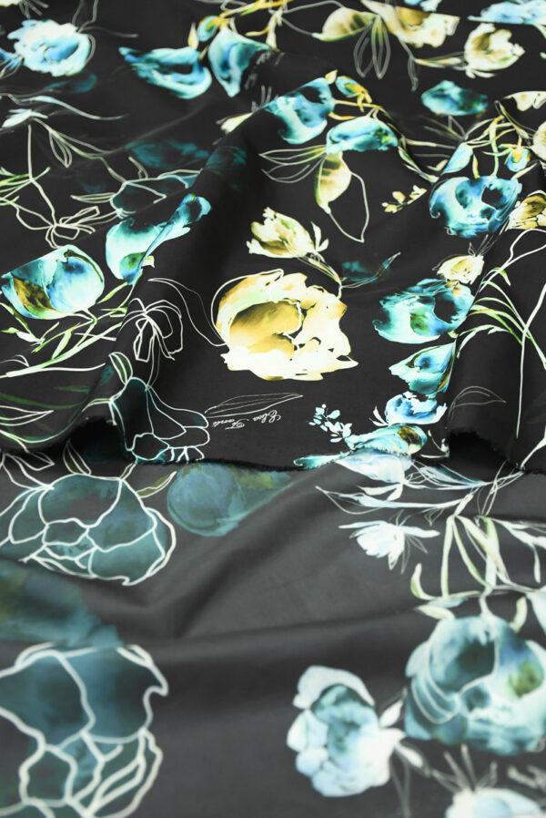 Плащевая ткань черная с голубыми цветами (10186) - Фото 10