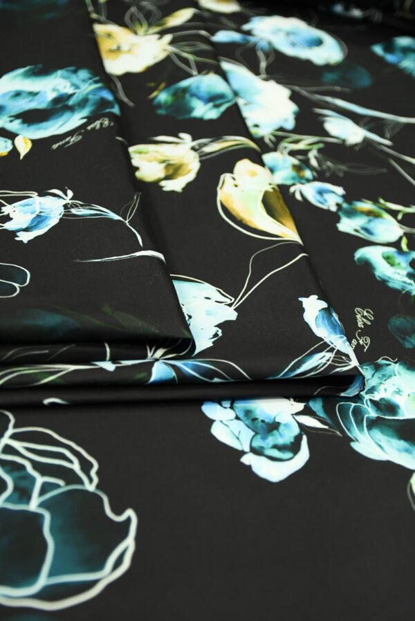 Плащевая ткань черная с голубыми цветами (10186) - Фото 9