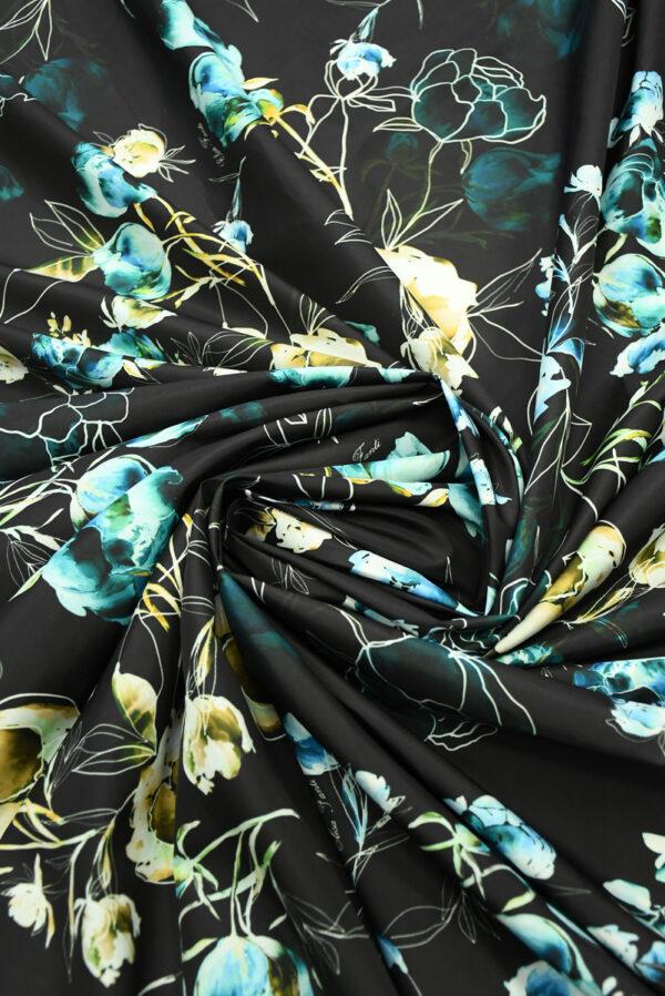 Плащевая ткань черная с голубыми цветами (10186) - Фото 8