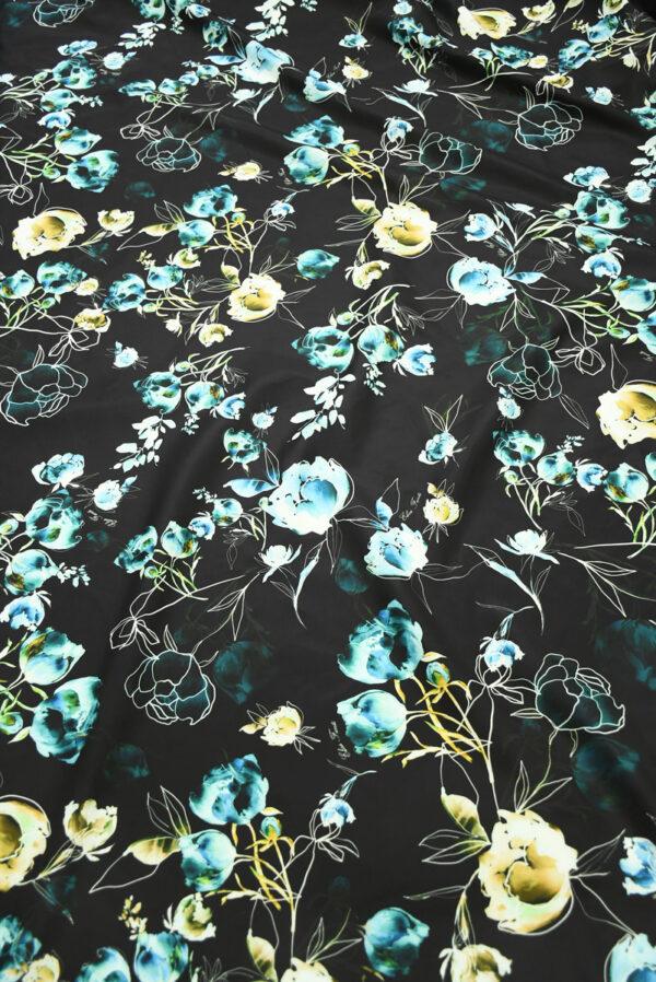 Плащевая ткань черная с голубыми цветами (10186) - Фото 11