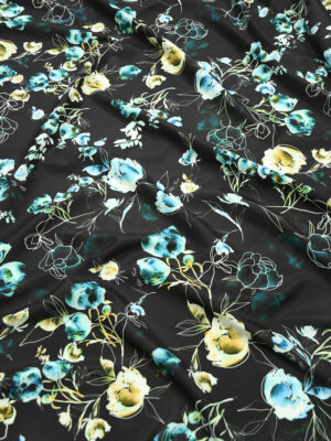 Плащевая ткань черная с голубыми цветами (10186) - Фото 22