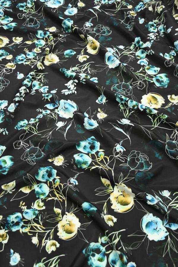 Плащевая ткань черная с голубыми цветами (10186) - Фото 6