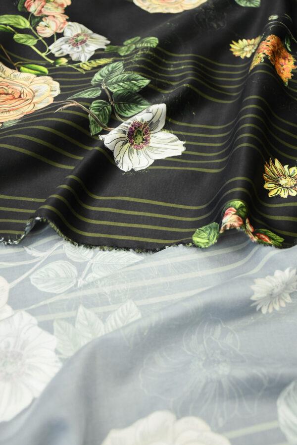 Атлас черный в полоску и с цветами (10192) - Фото 9