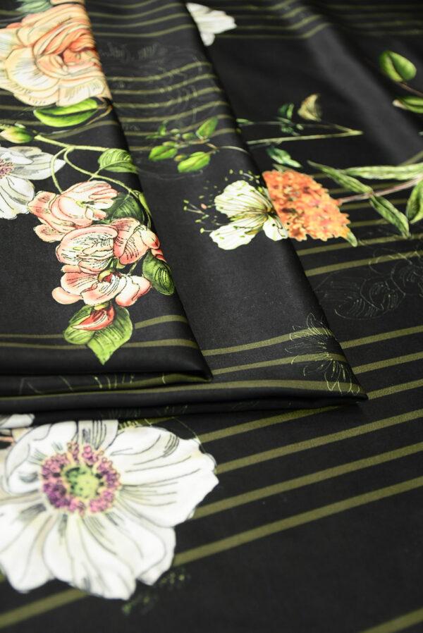 Атлас черный в полоску и с цветами (10192) - Фото 10