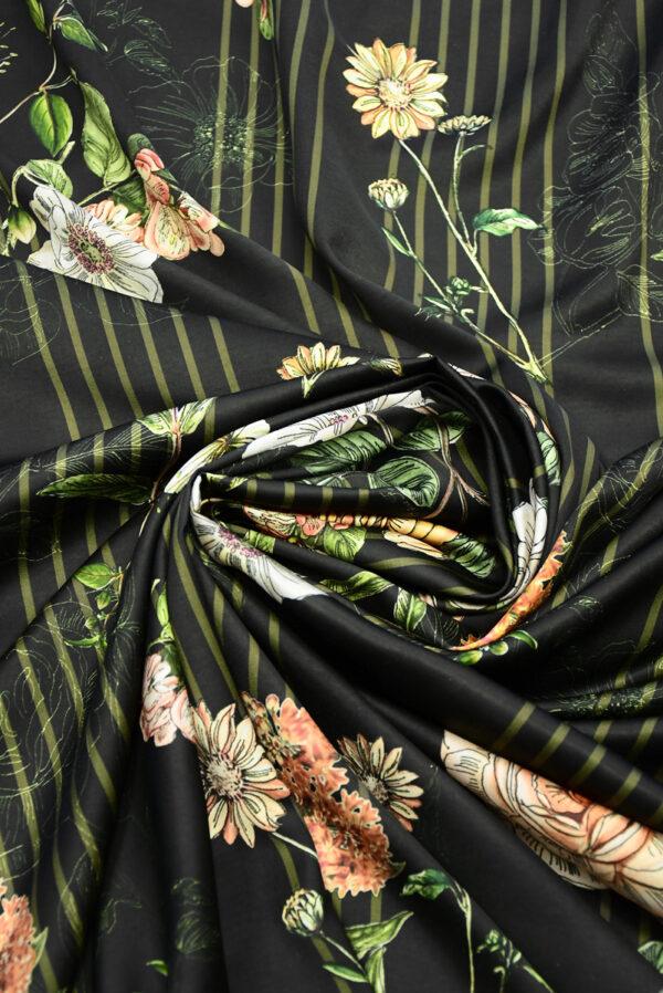 Атлас черный в полоску и с цветами (10192) - Фото 8