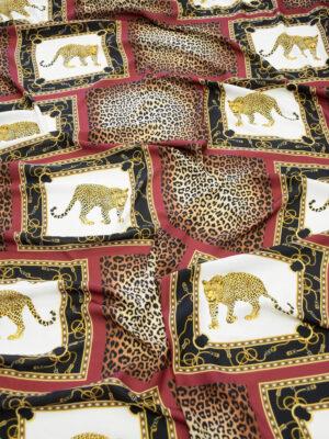 Креп бордо черные квадраты с леопардами (10231) - Фото 18