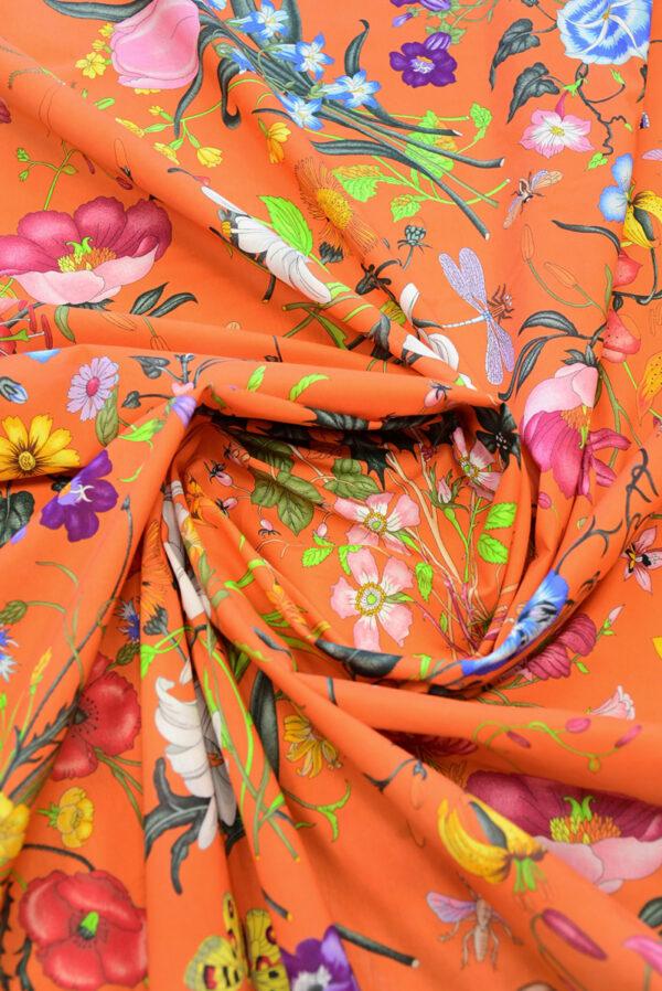 Хлопок ярко-оранжевый с цветами (10237) - Фото 10