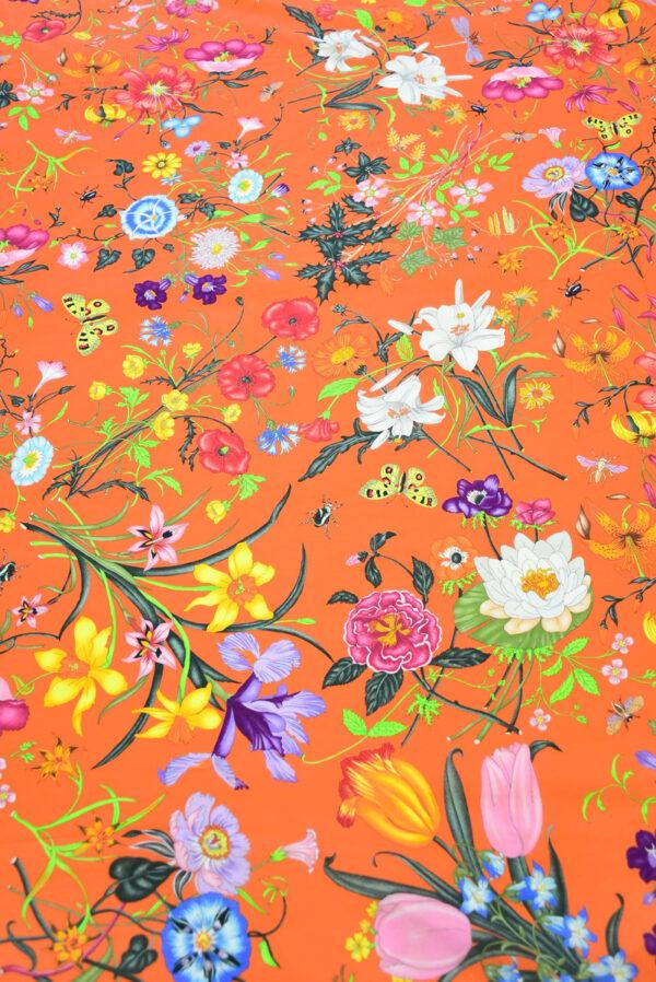 Хлопок ярко-оранжевый с цветами (10237) - Фото 11