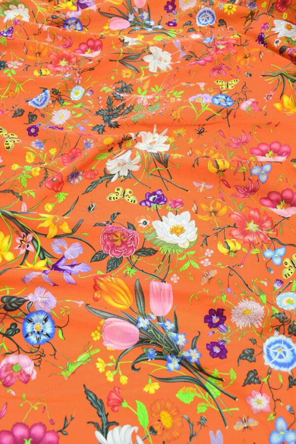 Хлопок ярко-оранжевый с цветами (10237) - Фото 6