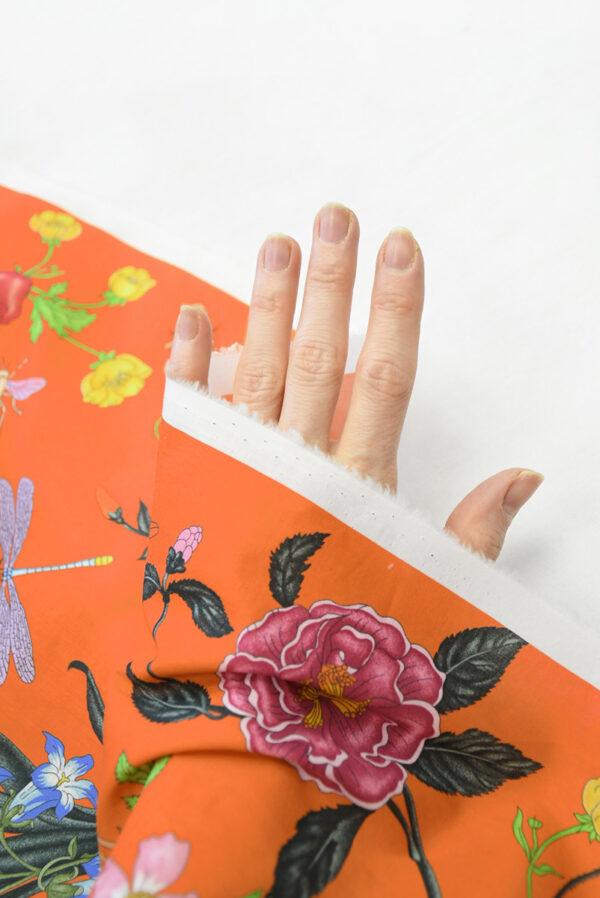 Хлопок ярко-оранжевый с цветами (10237) - Фото 7