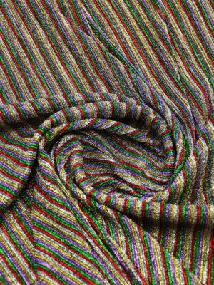 Трикотаж плиссе в разноцветную полоску с люрексом (9488) - Фото 7