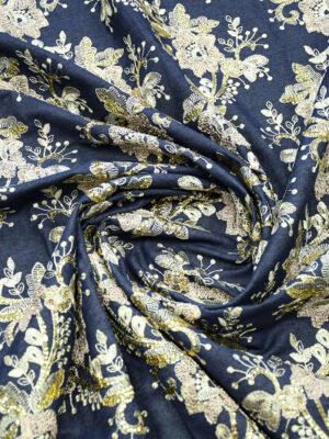 Джинс с вышивкой цветы золотые пайетки (9490) - Фото 21