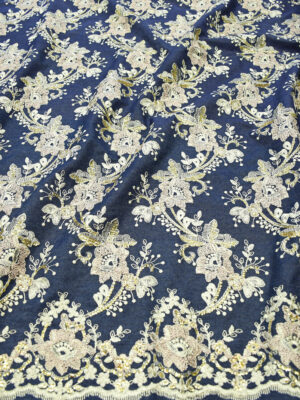 Джинс с вышивкой цветы золотые пайетки (9490) - Фото 20