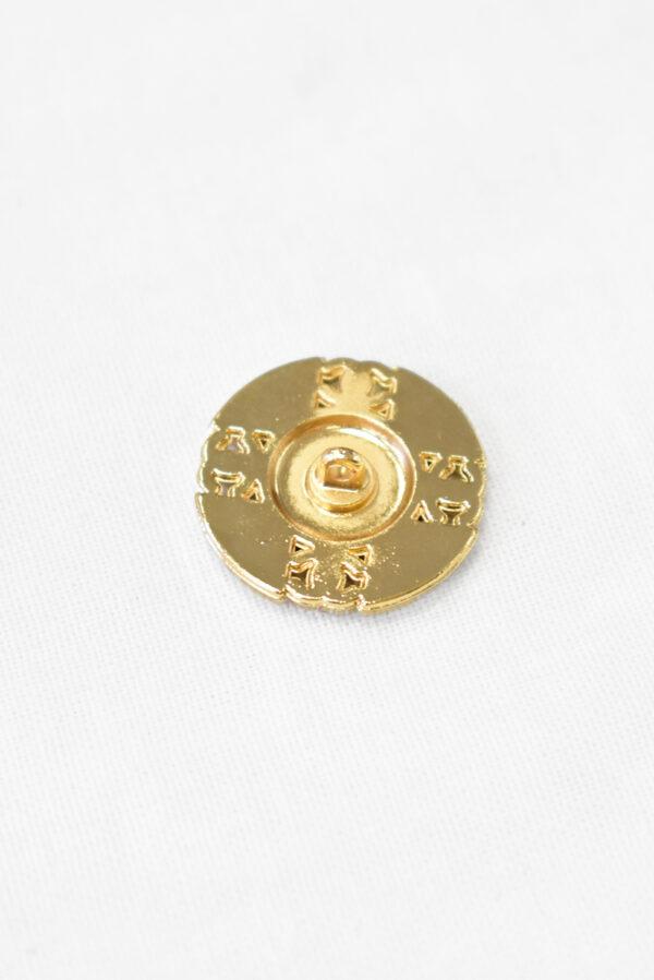 Пуговица золотистый металл на ножке черная эмаль костюмная 22 мм (p1097) к23 - Фото 8