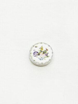 Пуговица маленькая деревянная белая с цветами (р1469) - Фото 20