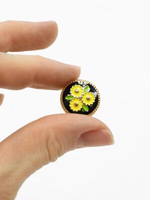 Пуговица металл эмаль черная в цветочек (р1471) - Фото 25