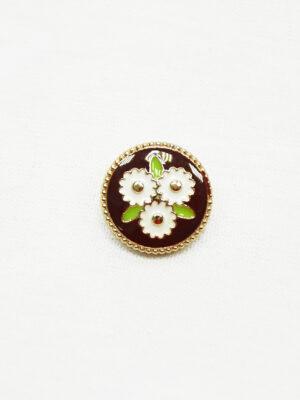 Пуговица металл эмаль коричневая в цветочек (р1473) - Фото 22