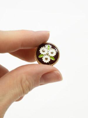Пуговица металл эмаль коричневая в цветочек (р1473) - Фото 23