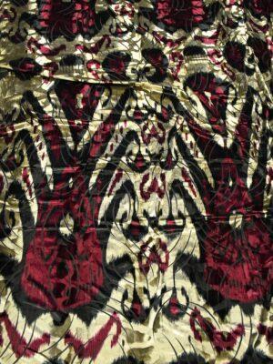 Бархат стрейч бежевый с бордовым орнаментом (10243) - Фото 14