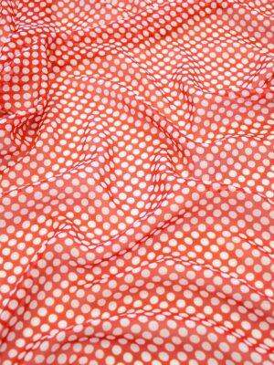 Шифон шелк красный в белый горошек (10260) - Фото 28
