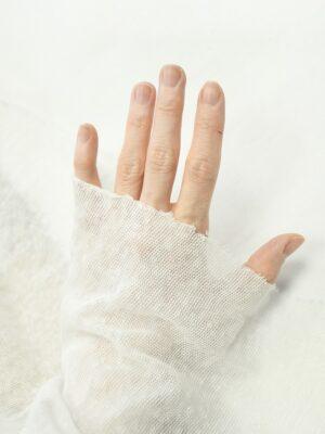 Трикотаж сетка хлопковый молочный меланж (10265) - Фото 29