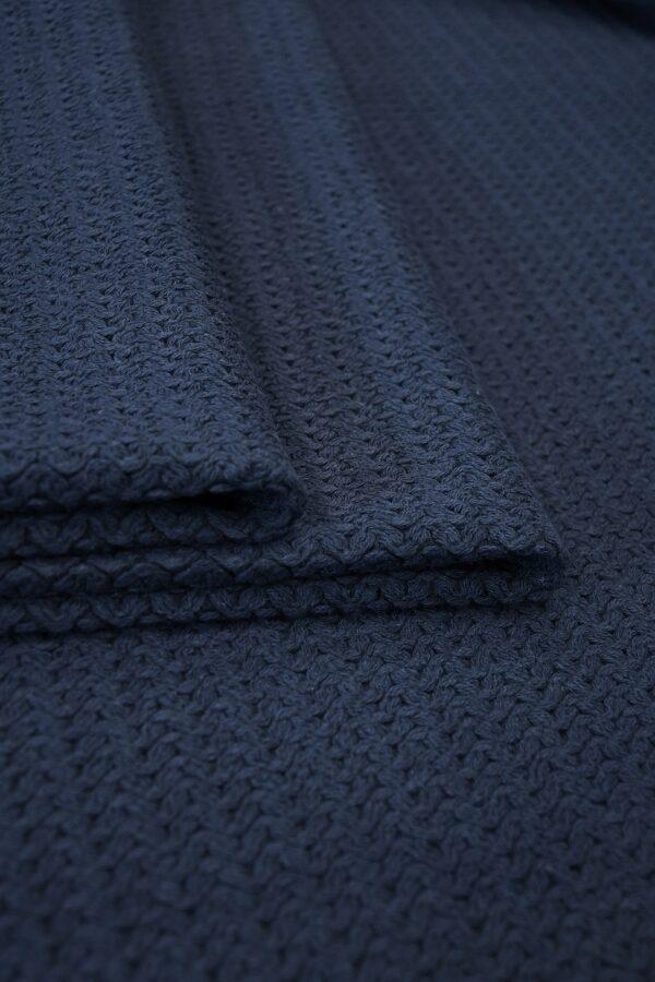 Твид стрейч хлопковый плетеный темно-синего оттенка (10269) - Фото 8