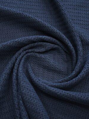 Твид стрейч хлопковый плетеный темно-синего оттенка (10269) - Фото 21