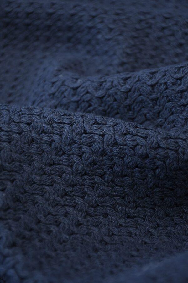 Твид стрейч хлопковый плетеный темно-синего оттенка (10269) - Фото 10