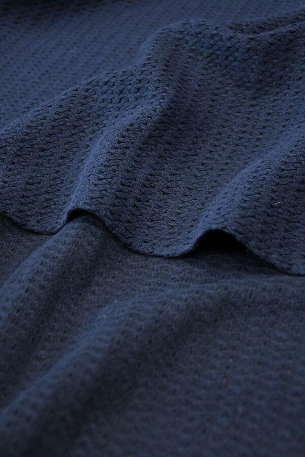 Твид стрейч хлопковый плетеный темно-синего оттенка (10269) - Фото 9